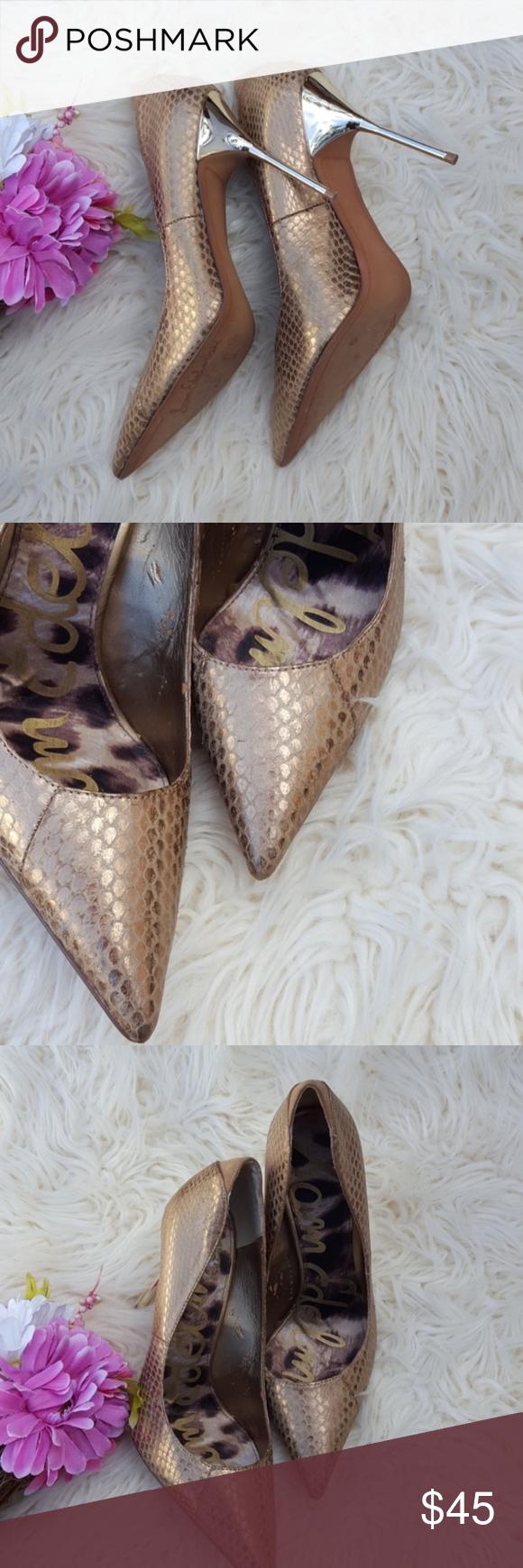 eae5443844988f Sam Edelman Danielle gold Leather heel Sz 10 C10 Sam Edelman Danielle gold  Leather heel Sz 10 Heel Height 4.5