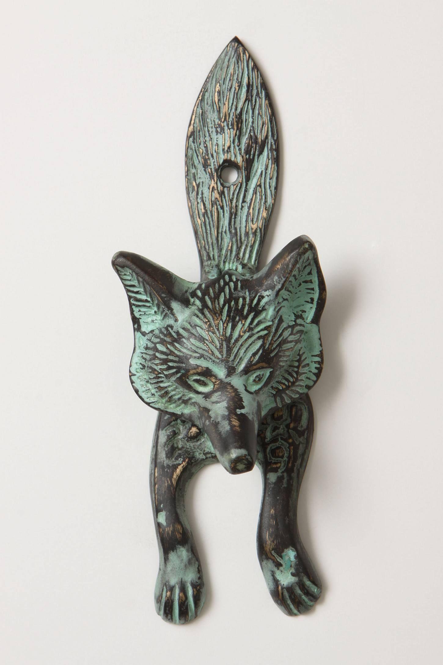 Sly fox knocker anthropologie puxador e batedores de portas