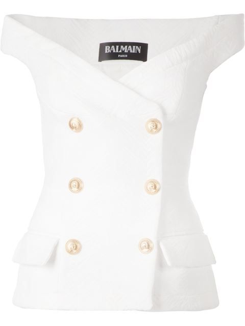 BALMAIN Off The Shoulder Design Top. #balmain #cloth #top