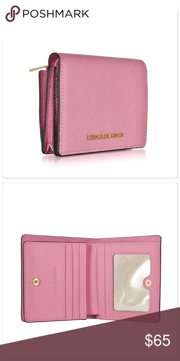 a337740ec6af Michael Kors pink card case small wallet Michael Kors card case wallet.  Credit card and bill pockets. Includes zipper pocket for coins. Color:  Misty Rose.