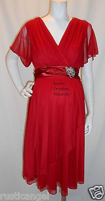 New Red Chiffon Vneck Sleeves Maternity Dress Cocktail Special XL Formal Dresses