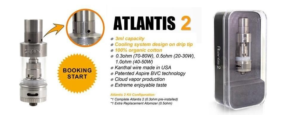 Aspire Atlantis 2 Sub-Ohm Tank   Atomizer SubOhm Clearomizer
