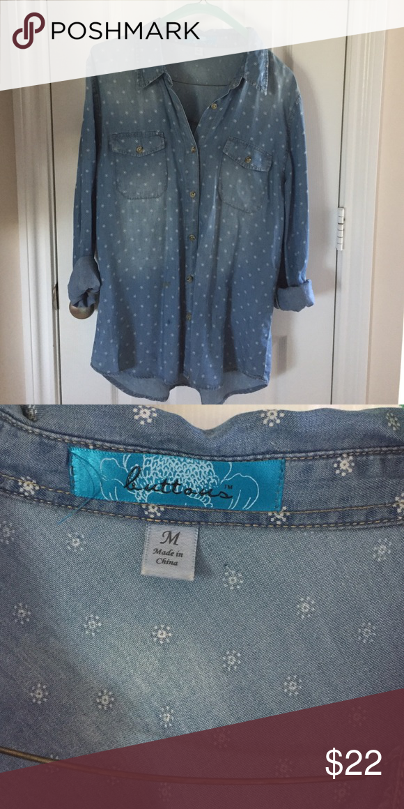 Denim Button-Down Worn once- great condition Tops Button Down Shirts
