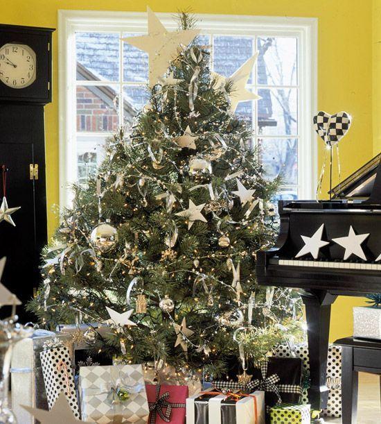 weihnachtsbaum silberner baumschmuck ornamente sterne. Black Bedroom Furniture Sets. Home Design Ideas