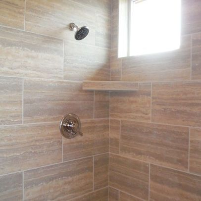 I Designed This Shower Using 12 X 24 Tiles In A Subway Layout The Tiles Go Above The Window Kitchen Design Styles Tile Design Pattern Tuscan Kitchen Design