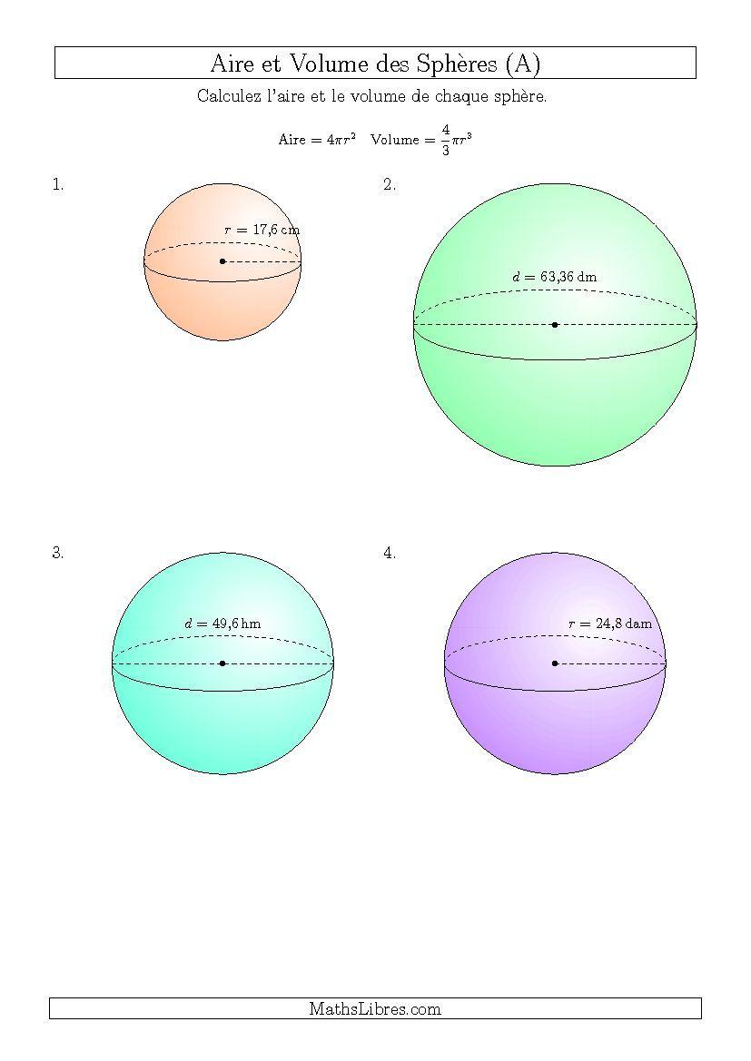 Calcul de l'Aire et du Volume des Sphères (Nombres Entiers ...
