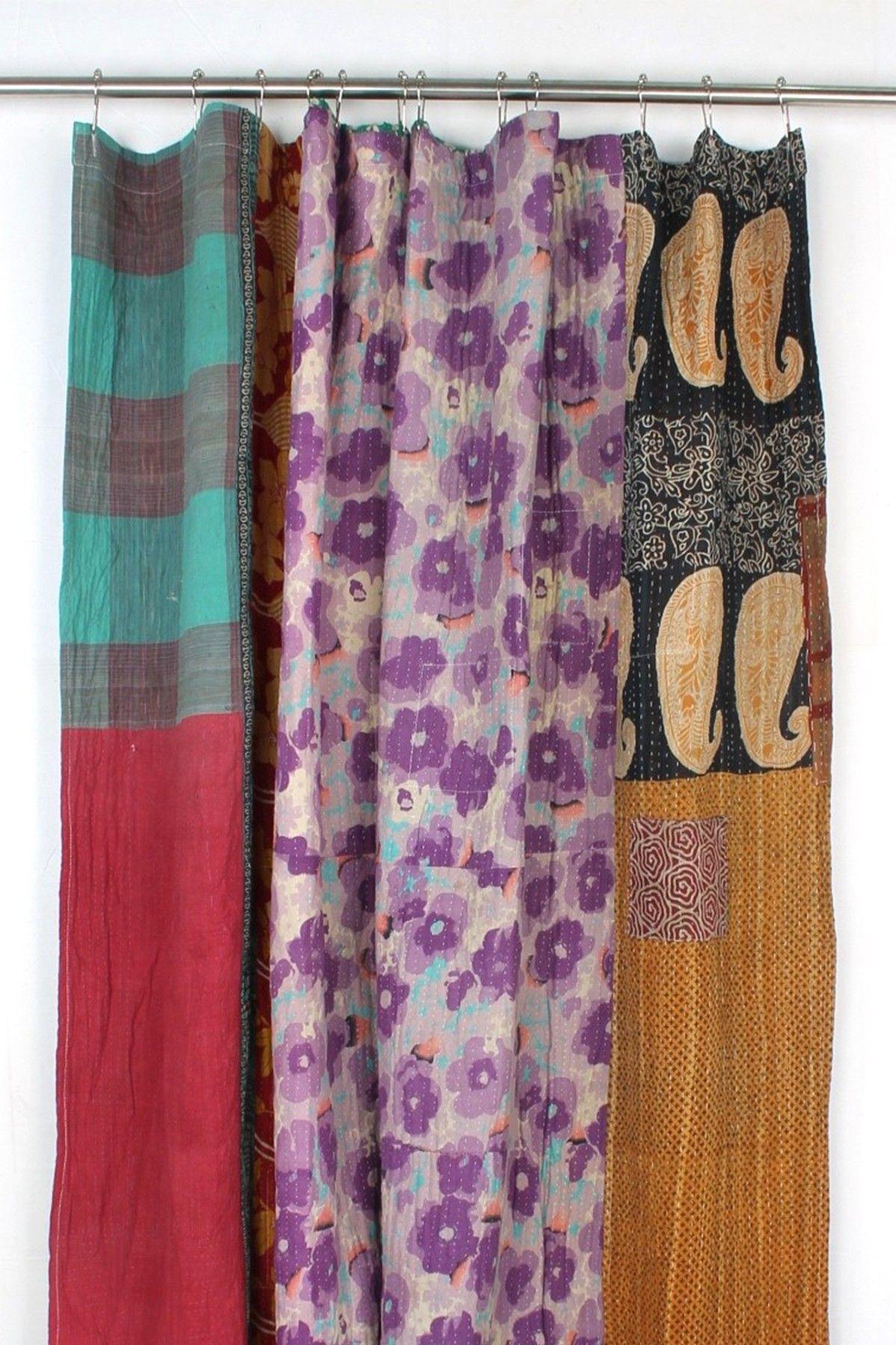 Melange Home One Of A Kind Kantha Shower Curtain