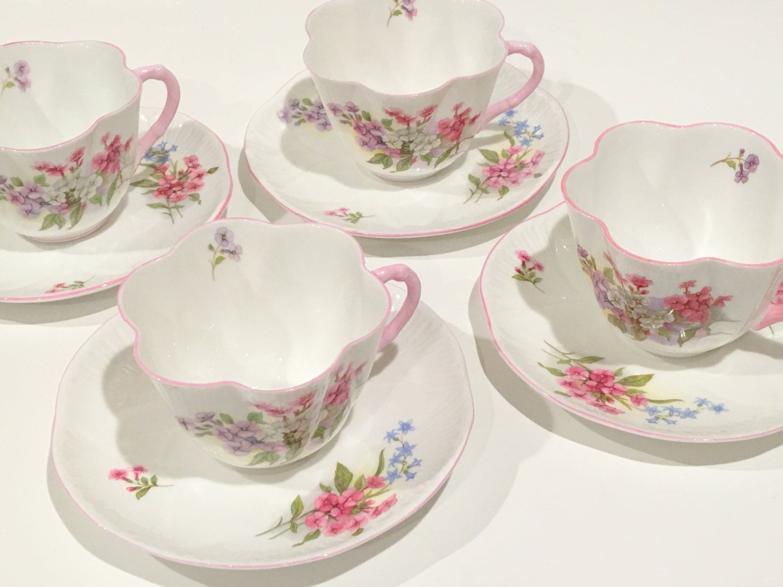 Shelley Tea Set, Stocks Pattern Tea Cups, Shelley China