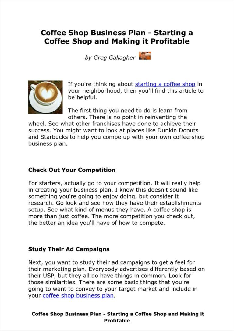 The Coffee Shop Business Plan Coffee shop business