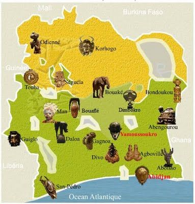 Cote DIvoire Africa map MAPS around the world Pinterest
