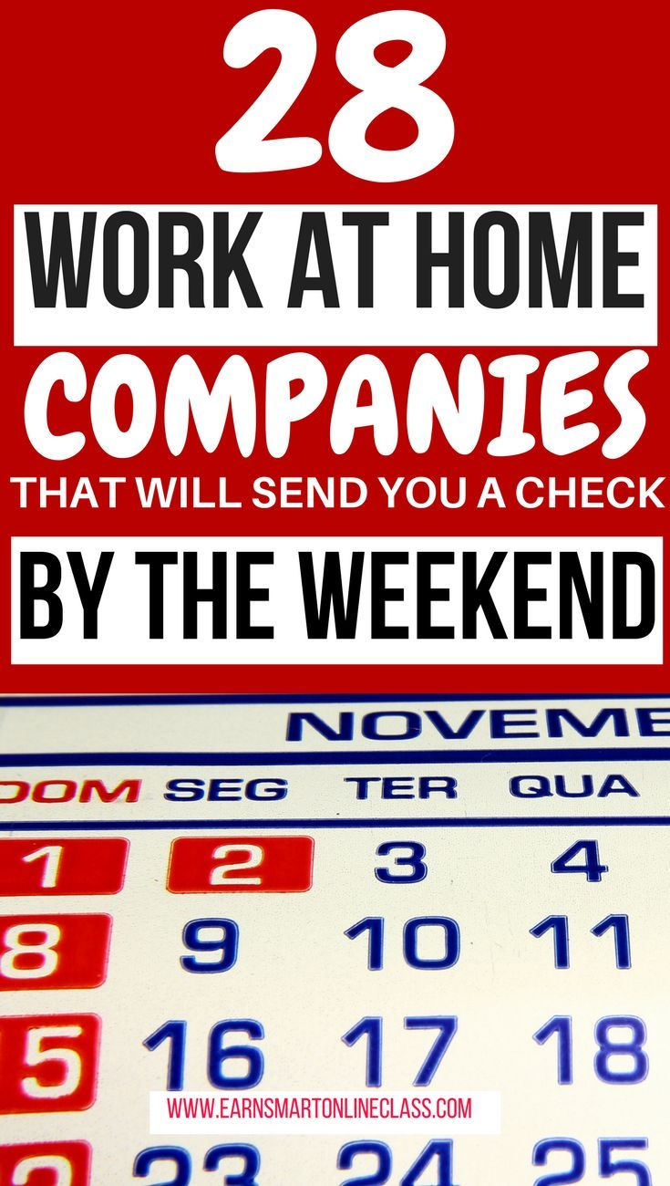 Weekly pay work from home jobs