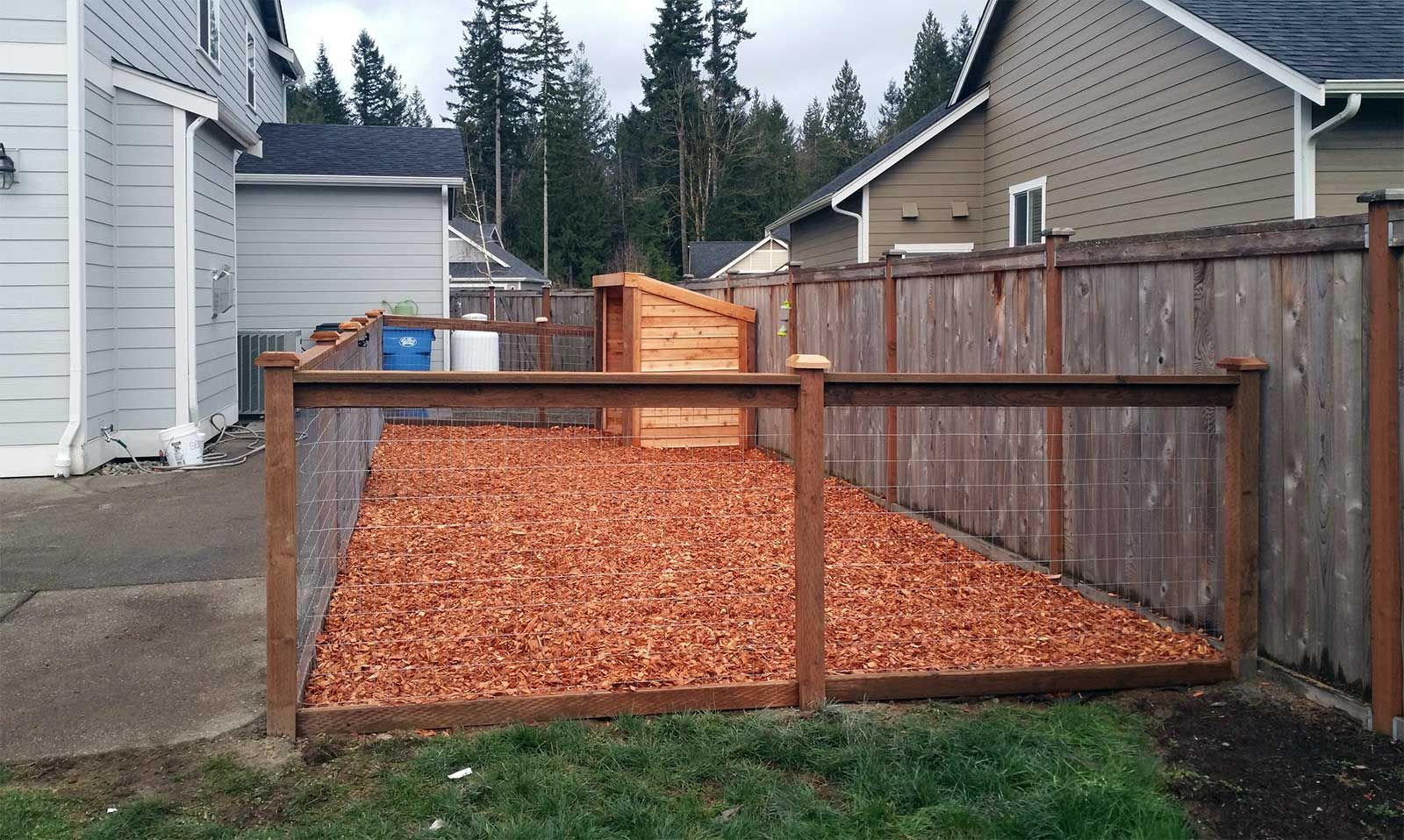East Olympia Kennel with Cedar Chips Dog potty area, Dog