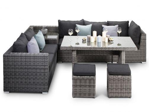 Verona Casual Outdoor Dining Grey Rattan Corner Sofa With Table