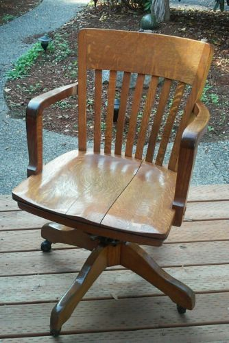 Peachy Vintage Milwaukee Chair Co Antique Oak Wood Slat Back Swivel Gmtry Best Dining Table And Chair Ideas Images Gmtryco