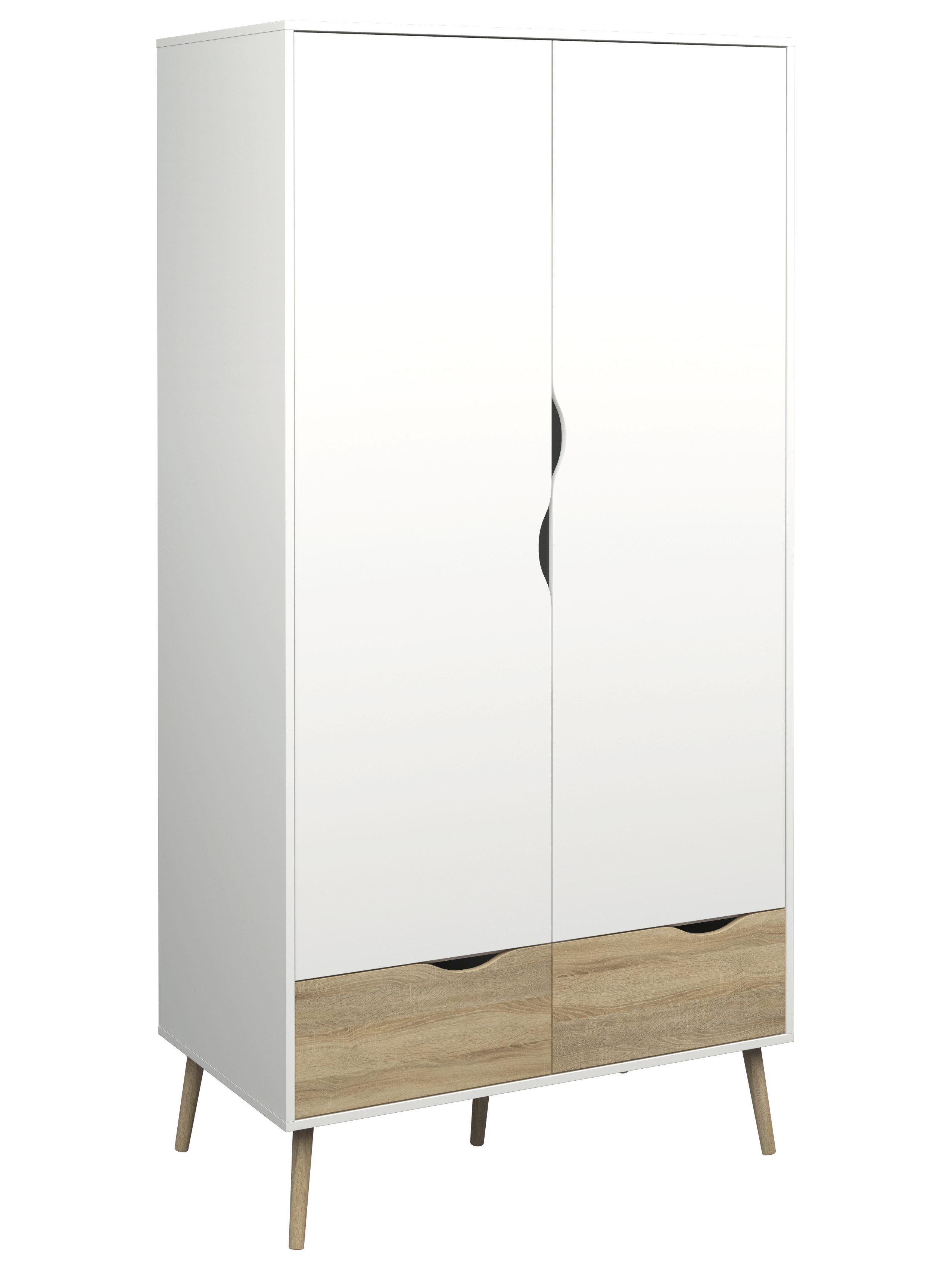 Armoire 2 Portes Et 2 Tiroirs L 99 Cm Oslo Blanc Imitation Chene Armoire Chambre Armoire Armoire En Bois