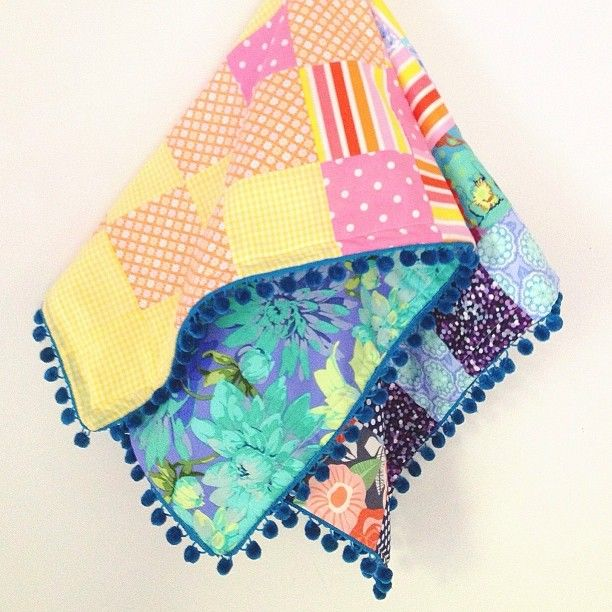 Patchwork Scrap Quilt With Pom Pom Edging And No Binding