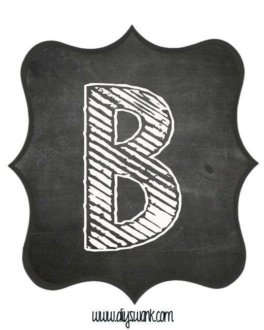 printable_chalkboard_ letter_b free printable banner letters letter templates bulletin board letters chalk lettering