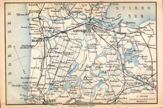 Amsterdam Netherlands Antique Map Vintage Lithograph Haalem - Antique maps amsterdam