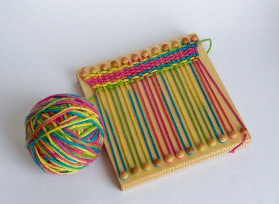 Wood weaving loom for kids crafts / fine motor by jackbenimbletoys, $20.00