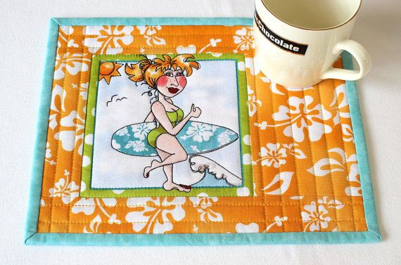 Quilted Mug Rug Surfing Lady Mug Rug Tropical by RedNeedleQuilts