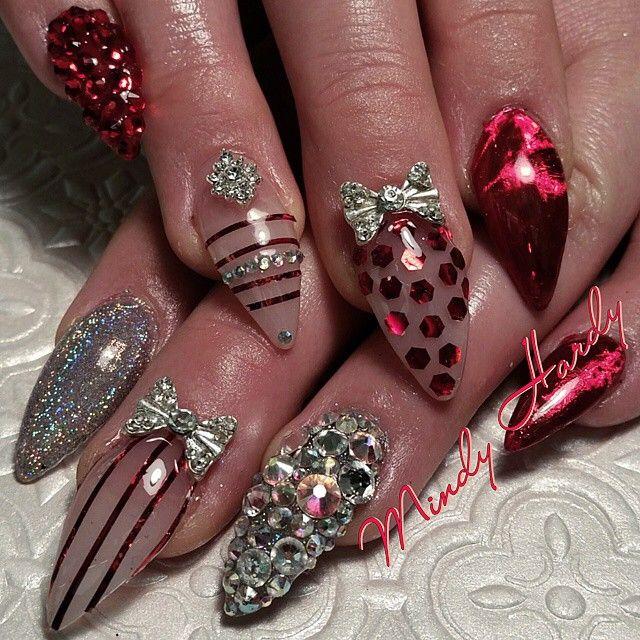 Black Glitter Acrylic Nails Stiletto Nails Glitter...