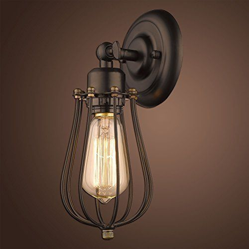 yobo lighting industrial edison mini wire cage oil rubbed bronze 1light wall sconce yobo