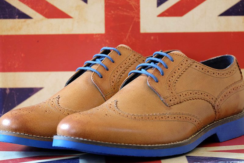 5b1b9dade0439 Tan brogues on blue sole by Coogan London | Cool... in 2019 | Shoes ...