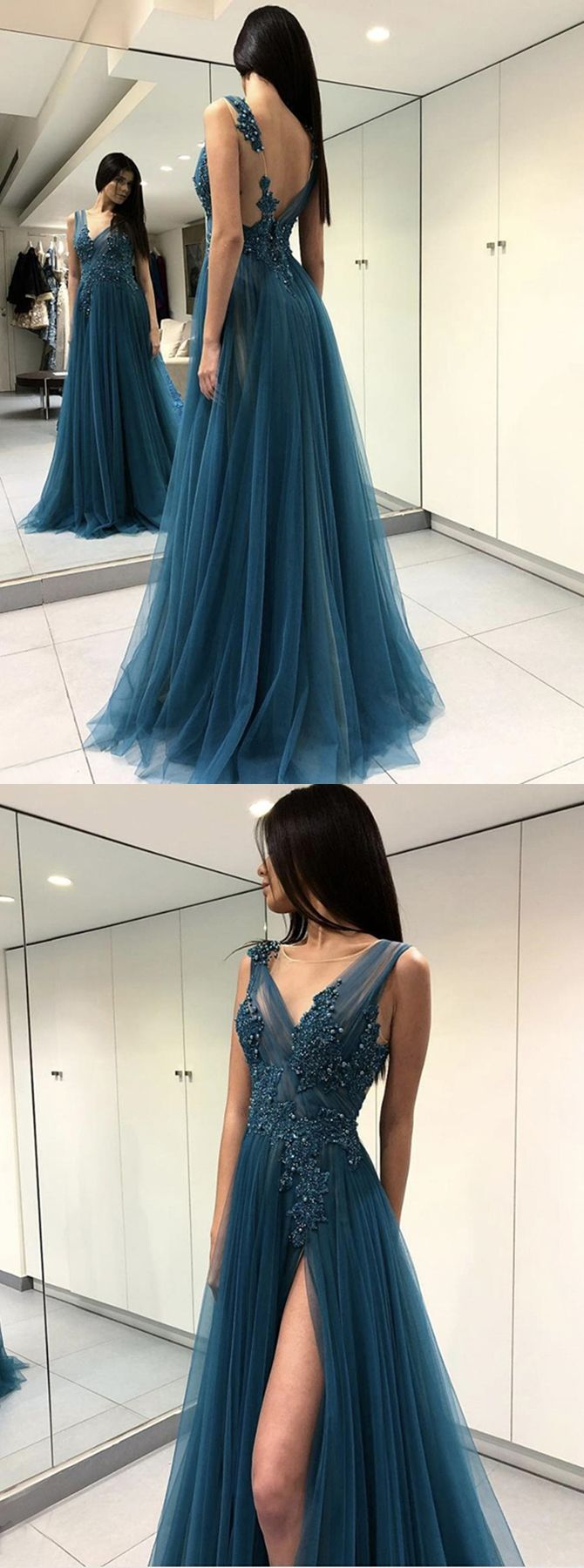Chic aline round neck backless turquoise beaded prom dress with