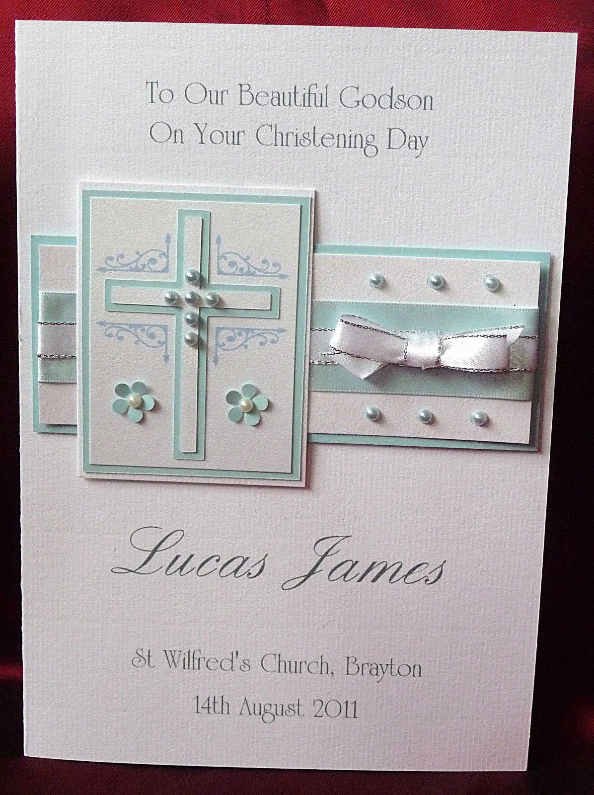Personalised Handmade  Christening Card