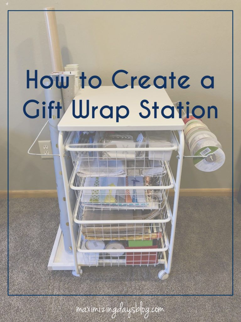 Diy container store gift wrap cart using ikea algot cart