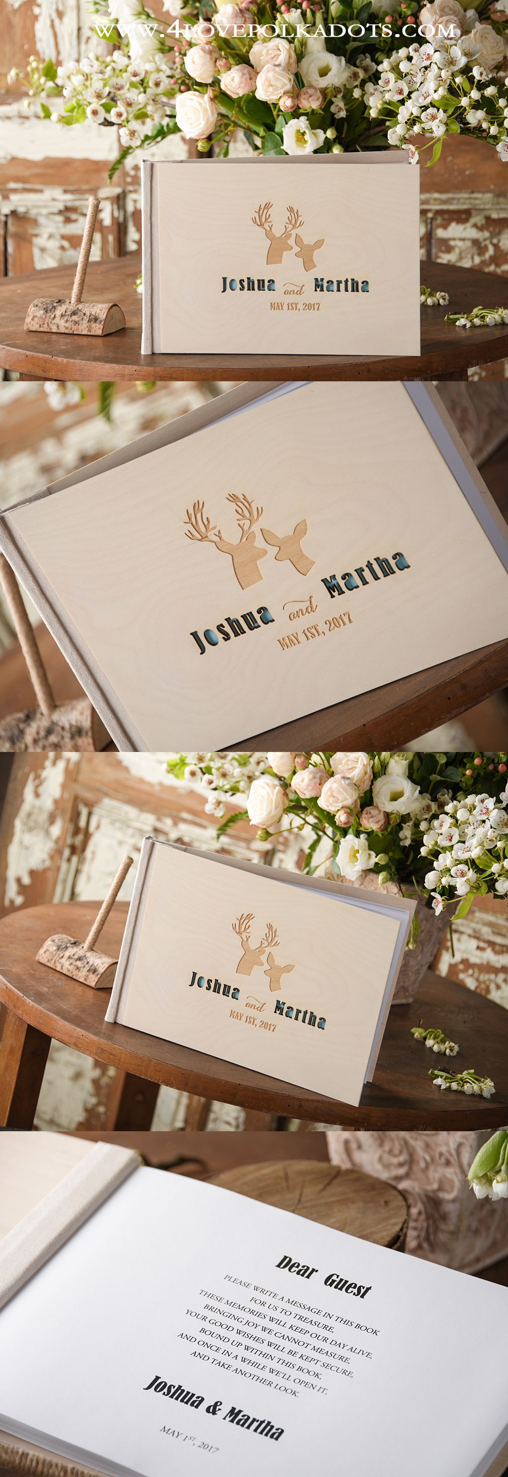 Boho Wedding Guest Book Deers in Love #weddingguestbook | Faire part ...