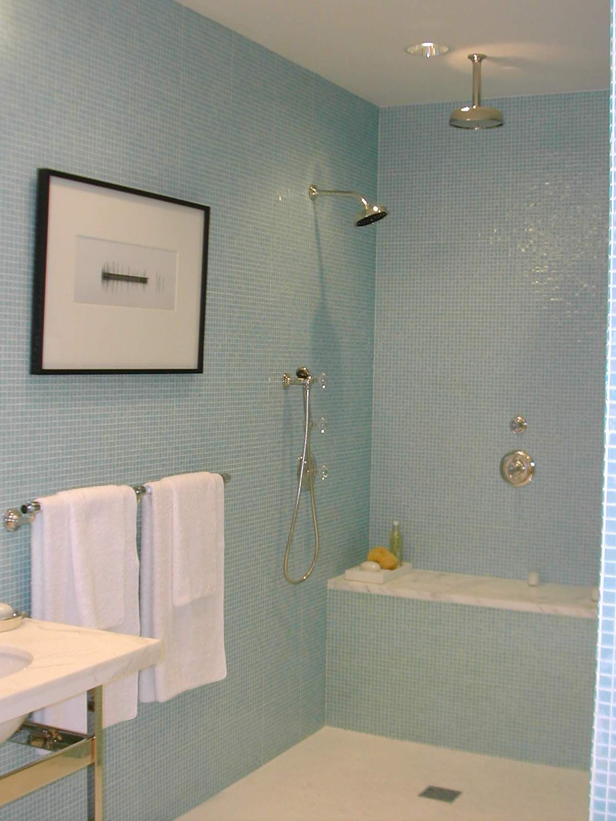 Master Bathroom Knee Wall 3 showerheads, too much?? could put the handheld on knee wall