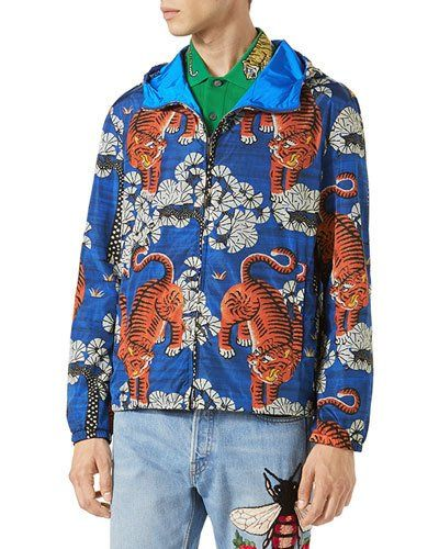 e66446920 GUCCI BENGAL TIGER-PRINT JACKET, BLUE. #gucci #cloth # | Gucci Men