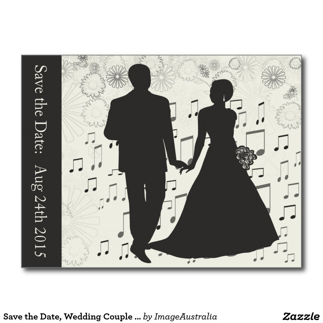 Save the Date, Wedding Couple Music Notes Postcard