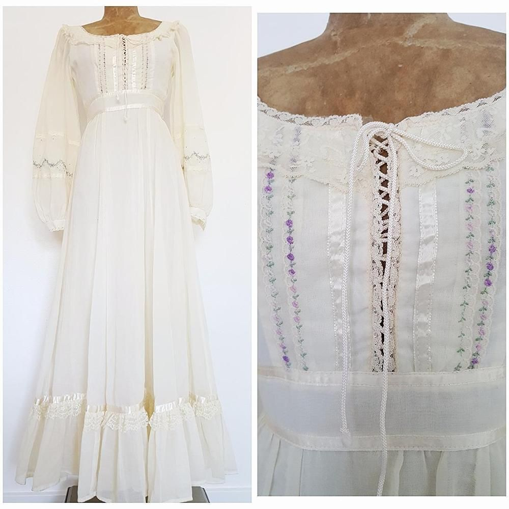 Vintage s gunne sax wedding dress size small wedding corset tie