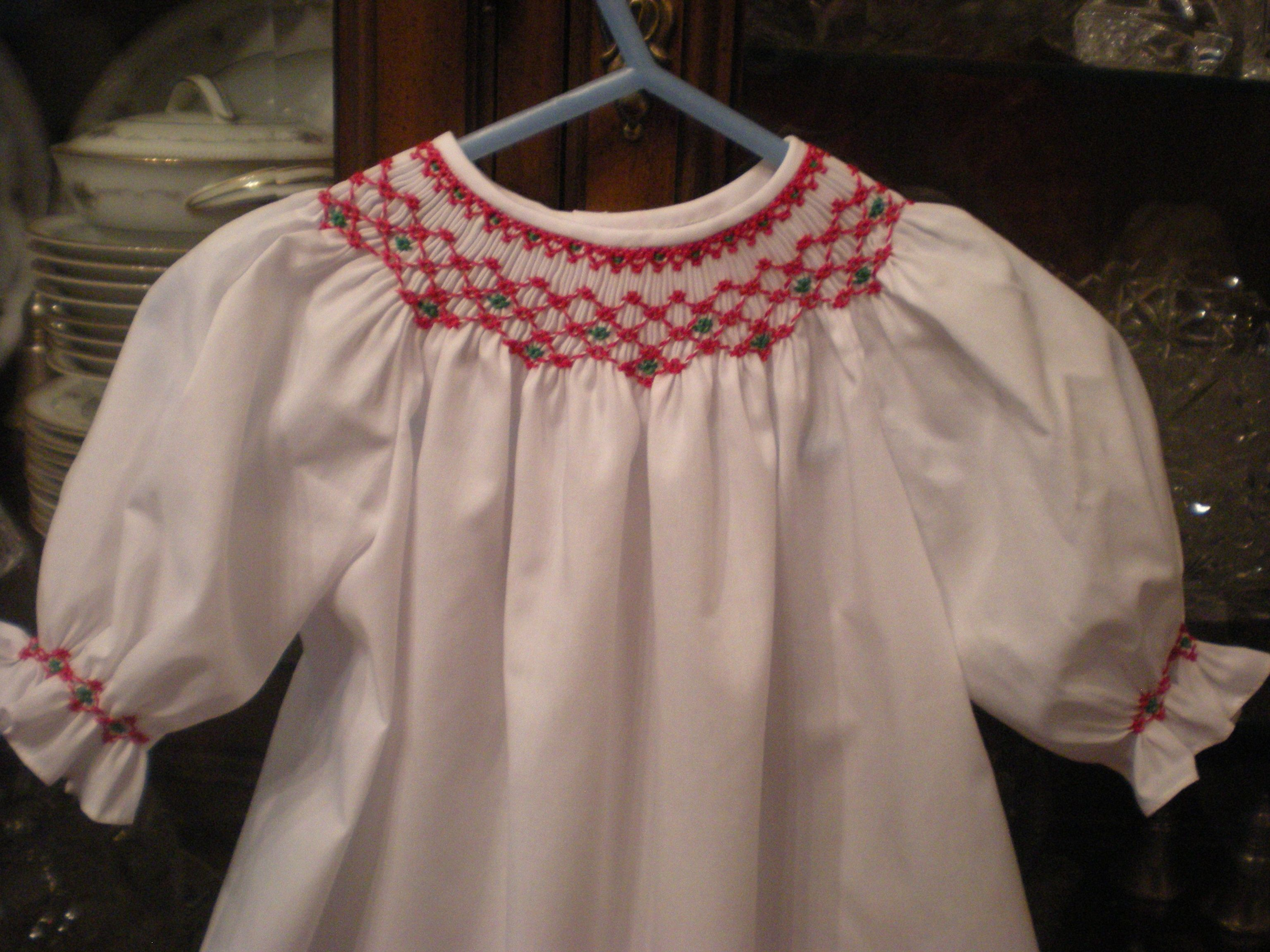 Smocked baby Christmas dress gown Hand smocked with red and green