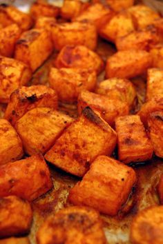 Roasted Sweet Potatoes with Honey and Cinnamon - 4 sweet potato, peeled and cut into 1-inch cubes; 1⁄4 cup extra-virgin olive oil, plus more for drizzling potatoes after cooked; 1⁄4 cup honey; 2 tsp ground cinnamon; 1 salt; 1 black pepper, freshly ground