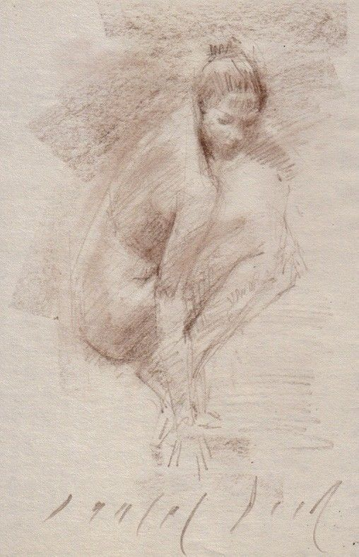 FEMALE NUDE Crouching Figure Realistic Sketch Life Drawing ART by DANIEL PECI