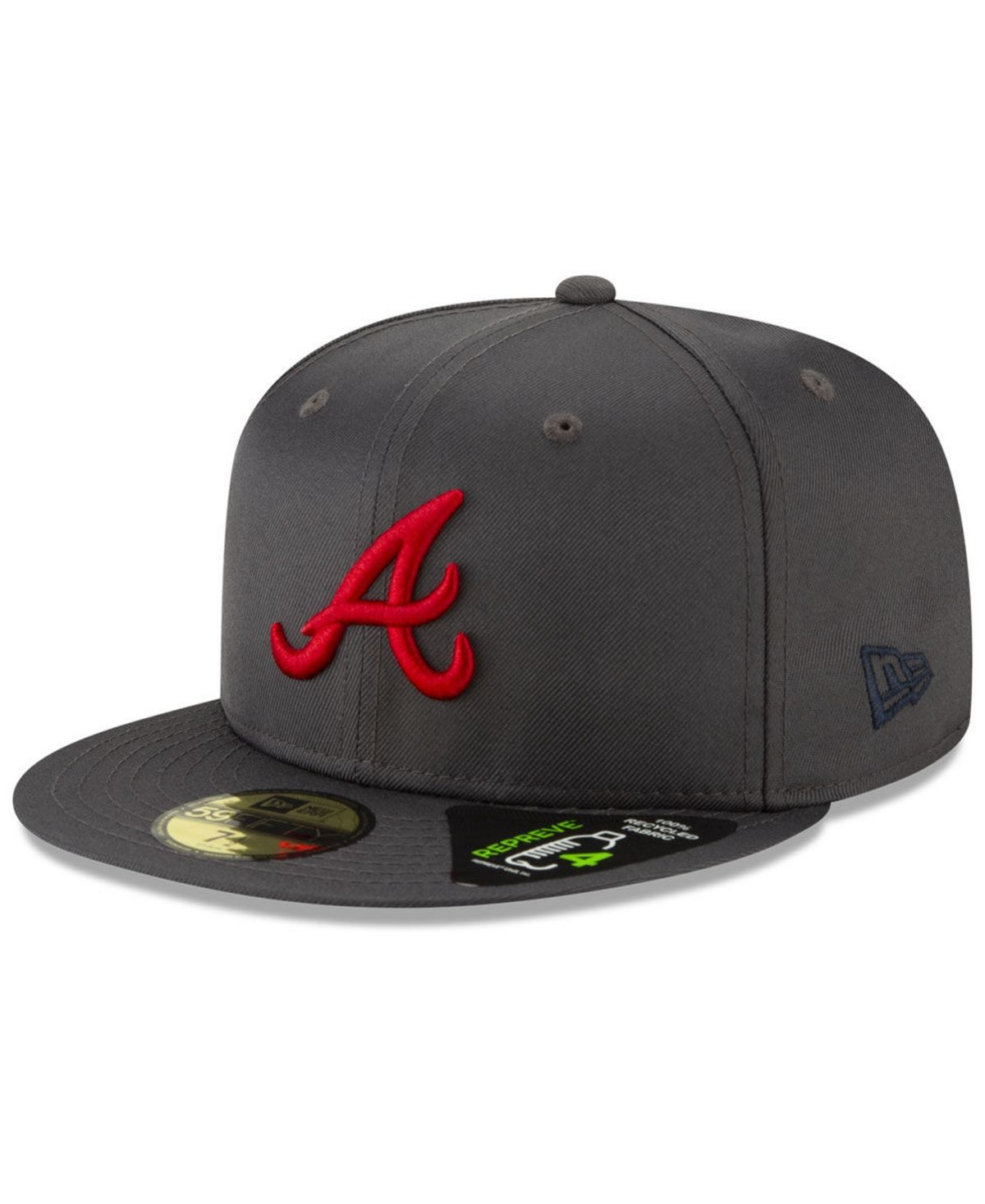 New Era Atlanta Braves Recycled 59fifty Fitted Cap Graphite Fitted Caps New Era Atlanta Braves