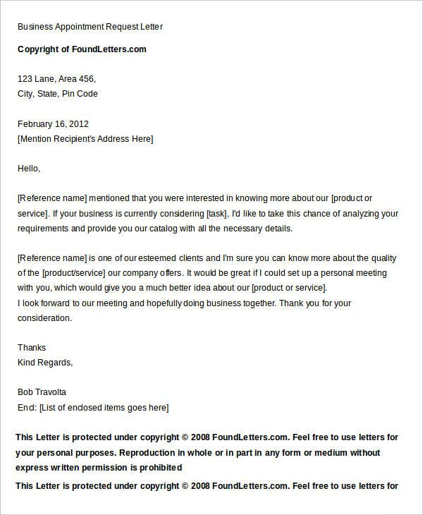9+ Sample Appointment Request Letter - Free Sample, Example Format - business quotation sample