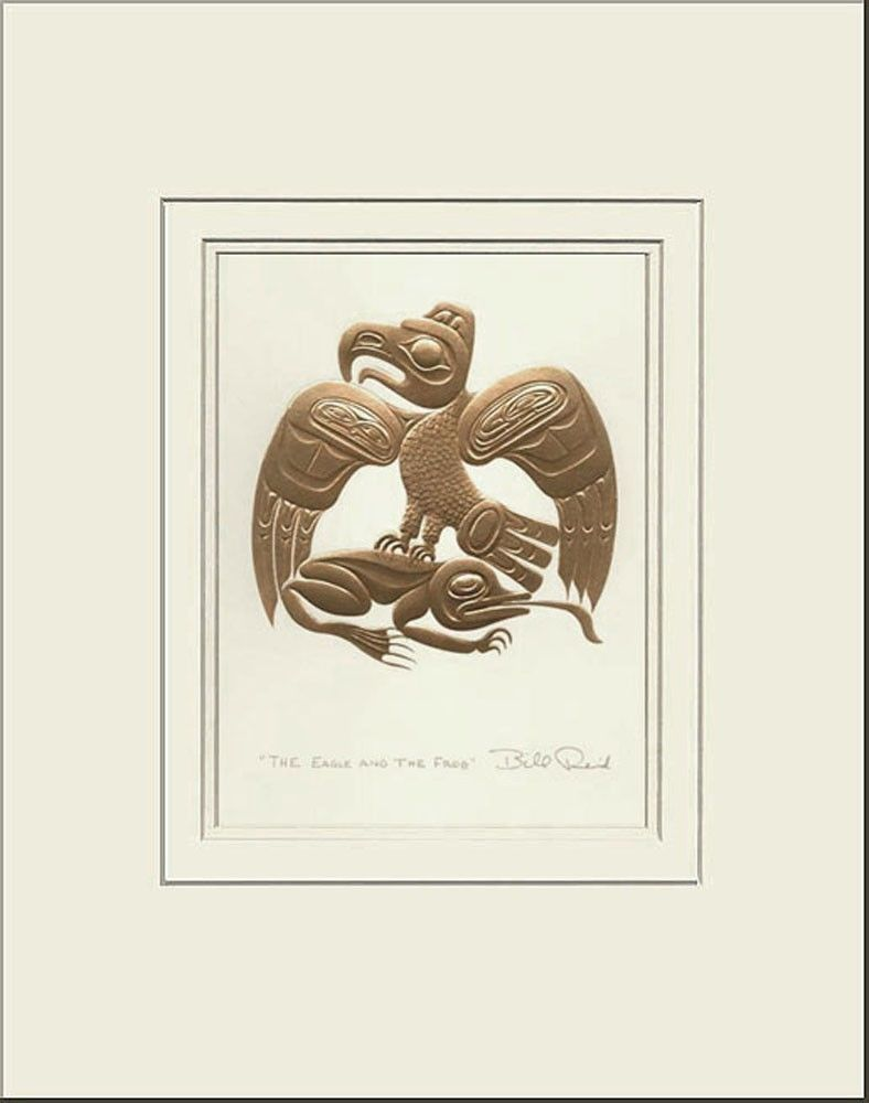 Haida artist BILL REID Embossed GOLD BEAR MOTHER matted art print