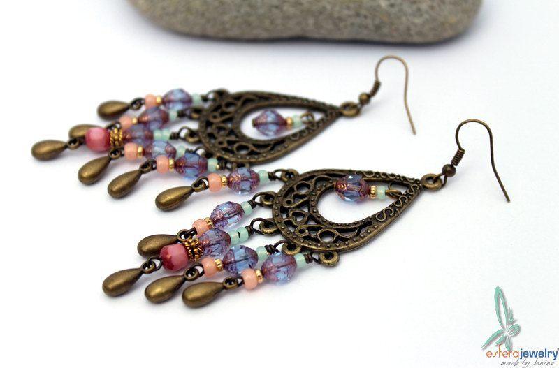 Marrakesh purple - long chandelier earrings with czech glass in purple and pink by esferajewelry on Etsy