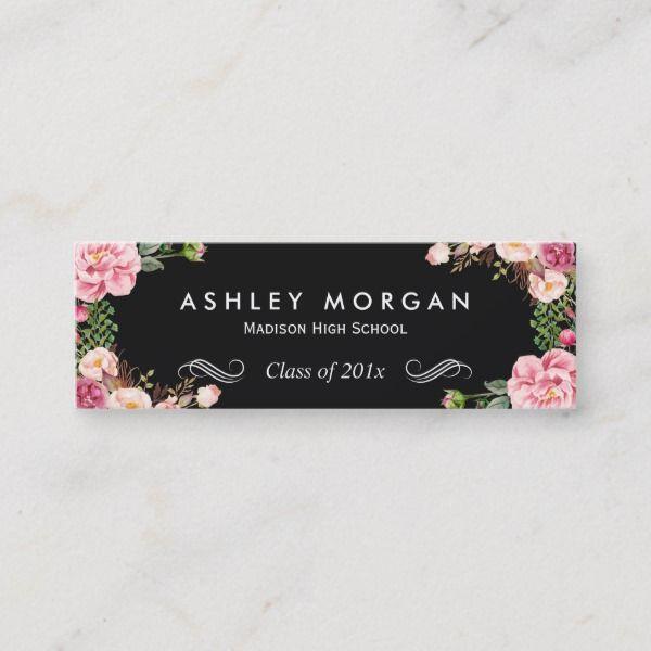 Stylish Floral Flowers Graduation Name Card Zazzle Back to