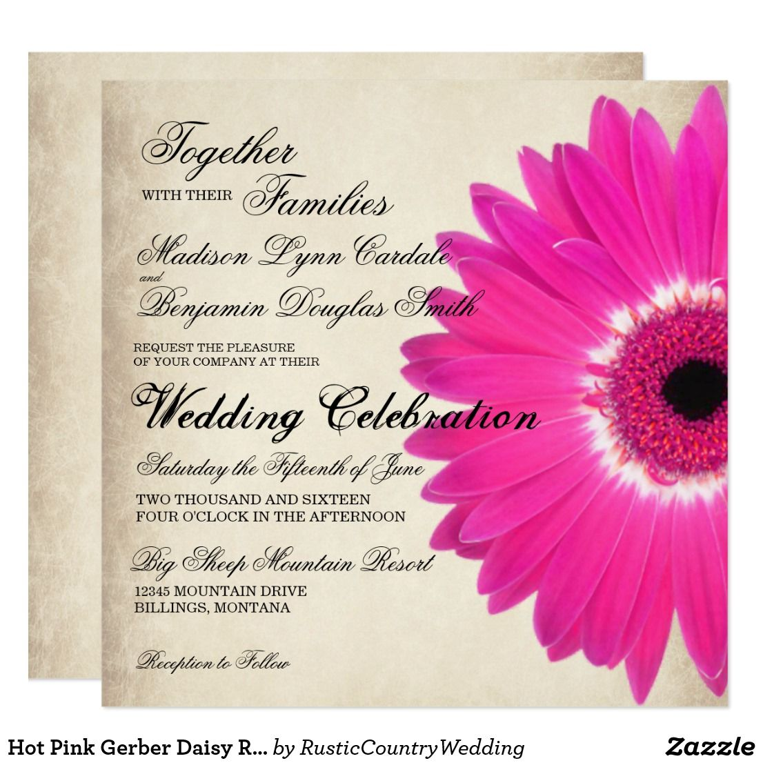 Hot Pink Gerber Daisy Rustic Wedding Invitations Zazzle Com Flower Wedding Invitation Wedding Invitations Rustic Pink Gerber Daisy