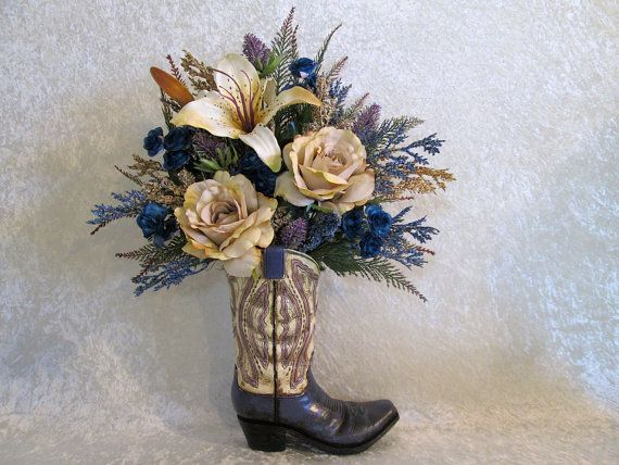 Silk Flower Arrangement In A Cowboy Boot Vase With Cream Lily And Roses Blue Mini Rustic Home Decor Fl