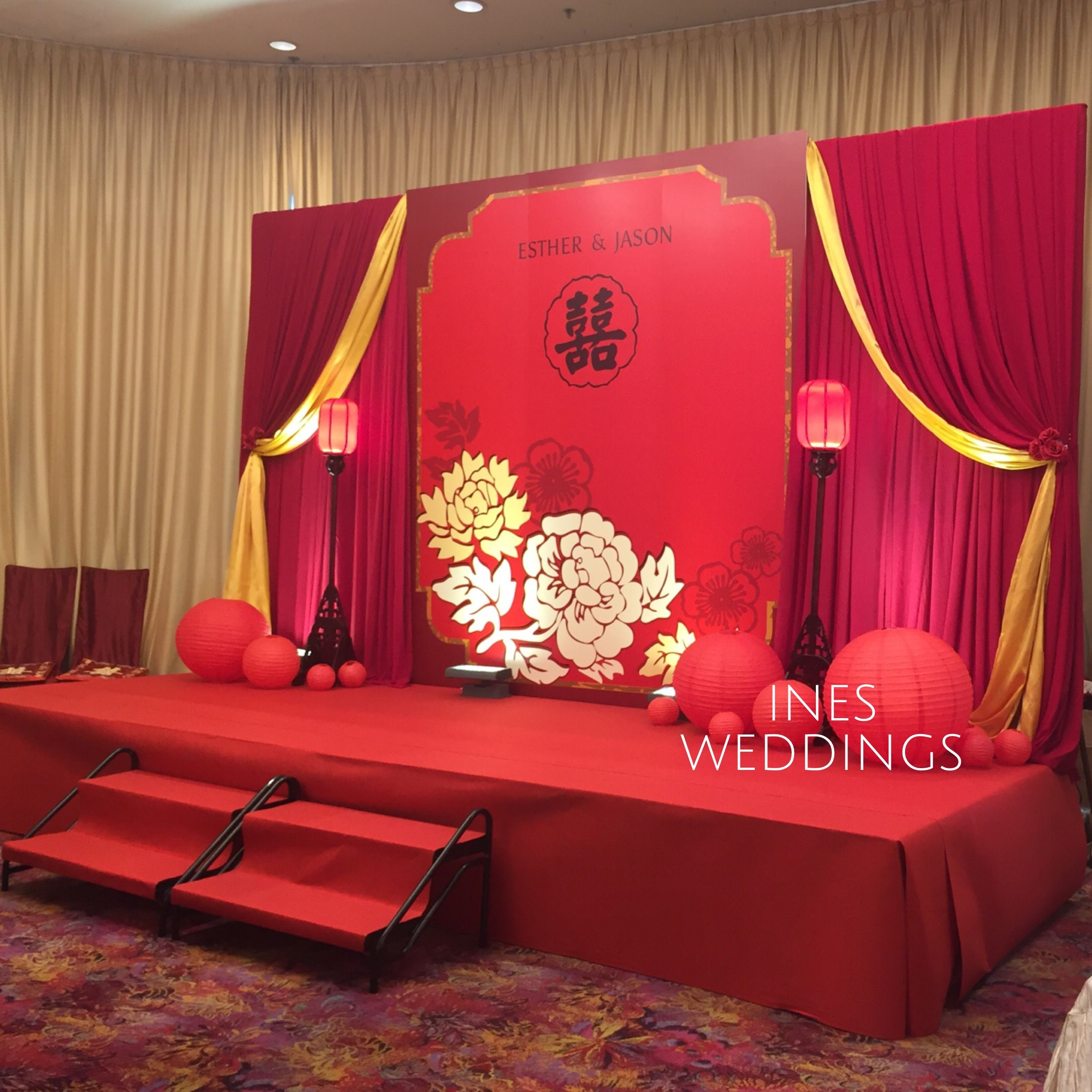 Modern Wedding Backdrop Ideas: Modern Chinese Red And Gold Backdrop Idea 中國風主題設計