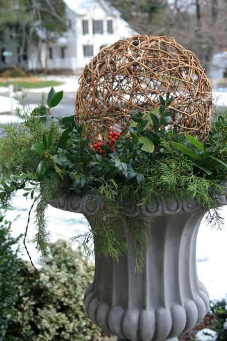 "Christmas Urn Decorations For Outdoors Winter Urns  Holly Boxwood Cedar & Blue Spruce 12"" Grapevine"