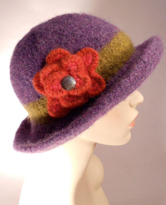 Deep Lavender Felted Hat with Brim by yoursbydesign on Etsy, $69.00