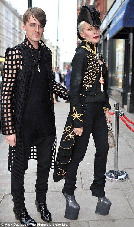 a4dd5c55b535 Daphne Guinness wearing Alexander McQueen and Noritaka Tatehana signature  heelless shoes. With his friend