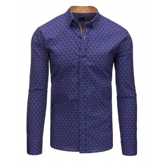ea7a92ae105b Formální tmavě modrá bavlněná pánská košile se vzorom a dlouhým rukávem -  manozo.cz
